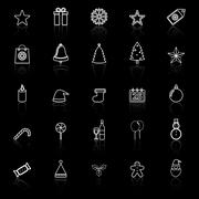 christmas line icons with reflect on black background - stock illustration