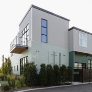 Modern condo building and parking lot Stock Photos