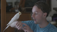 Man talks to his pet cockatoo Stock Footage