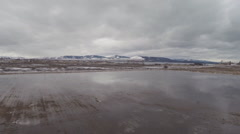 Winter Flooded Field Aerial Montana Stock Footage
