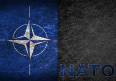 old rusty metal sign with a nato flag - stock illustration