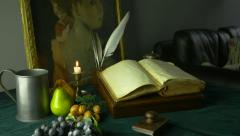 4K UHD Dolly Shot of Ancient Manuscripts Paintings and Fruit Stock Footage