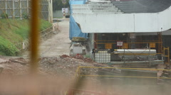 Raining at construction site - stock footage