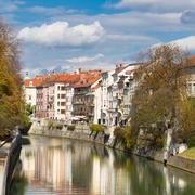 Medieval houses in Ljubljana, Slovenia. Stock Photos