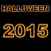 halloween 2015 font written with hot flames - stock illustration