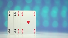 Ace play card on blurry colorful background as success concept Stock Footage