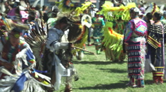 Pow Wow dancing during grand entry in Slo-mo Stock Footage