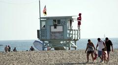 Life Guard Stand on Santa Monica Beach  - Los Angeles California - stock footage