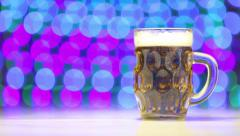 Beer and blurry background as celebration concept Stock Footage