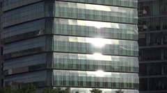 ULTRA HD 4K Sunlight reflection residential modern house glass facade window day Stock Footage