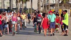 Crowds on Busy Pedestrian Sidewalk Path -  Santa Monica Beach Stock Footage