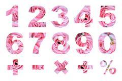 One to zero numbers and basic mathematical symbols Stock Photos