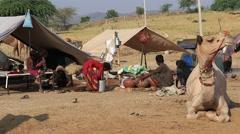 Video 1920x1080 - beggar Indian family is involved in Pushkar Camel Mela Stock Footage