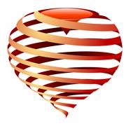 Stock Illustration of vector striped heart dark