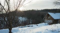 Fantastic landscape glowing by sunlight. Dramatic wintry scene. Carpathian, Stock Footage