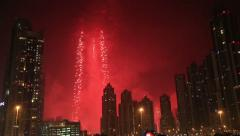 Burj Khalifa New Year 2015 fireworks display Stock Footage