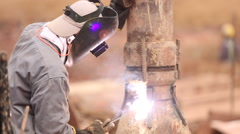 Construction worker welding Stock Footage