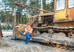 Portrait of driver  construction equipment Stock Photos