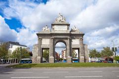 gate of toledo (puerta de toledo) on a sunny spring day in madrid - stock photo
