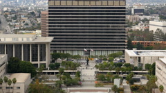 Zoom Out Time Lapse of the DWP Building from Above in Downtown Los Angeles Stock Footage