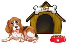 Dog and house Stock Illustration