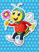 Bee and flower Stock Illustration