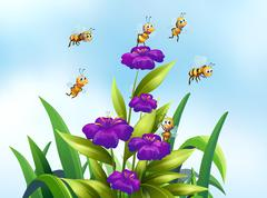 Bees and flower Stock Illustration