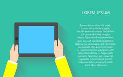 Hands holding touch screen tablet pc with blanc blue screen. Vector illustration - stock illustration