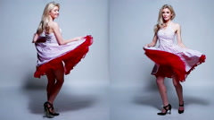Young Woman Wearing Dress in Different Movements Stock Footage