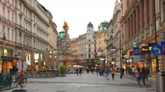 Tourists on foot Graben Street in Vienna, Austria - stock footage