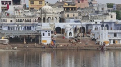 Video 1920x1080 -  Indian people at ritual washing in the sacred lake. Pushkar Stock Footage