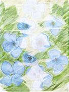 Picturesque abstract floral background with blue flowers and leaves made with Stock Illustration