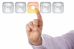 Index Finger Highlighting Yellow Solar Energy Icon Stock Photos