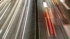 Time Lapse Pan - View of Traffic on Busy Freeway in Downtown Los Angeles Stock Footage