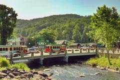 Tour buses in Gatlinburg, TN - stock footage