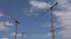 Crane equipment work construction site blue sky built house machinery workplace  Stock Footage