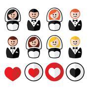 Groom and bride, wedding icons - black, blonde, ginger hair, brunette Stock Illustration
