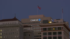 Night View of the Chase Bank building in downtown San Diego Editorial Stock Footage