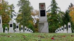 Slide shot of Soviet graveyard 2 Stock Footage