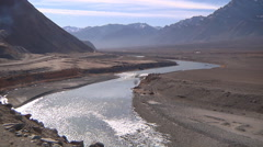 River and mountains in Ladakh, India (Jammu and Kashmir). Stock Footage