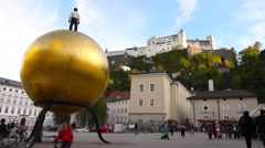People visiting the Kapitalsquare in Salzburg Stock Footage