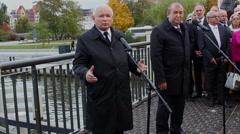 Jaroslaw Kaczynski during campaign in Elblag, Poland 3 Stock Footage