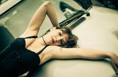 burlesque girl - stock photo