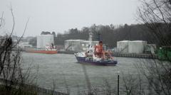 Storm in Kiel Canal - stock footage