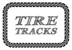 tire tracks frame - stock illustration