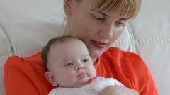 Close Up Parent holding baby. Happy Mother and Baby. Full HD.mp4 Stock Footage