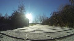 Frost on the wooden walkway. Stock Footage