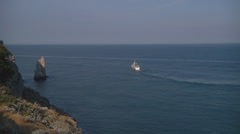 Very Wide Shot of ferry at Swallow's Nest (Gaspra) in Crimea, Ukraine. Stock Footage