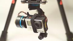 GoPro action camera moving on gimbal mount Stock Footage