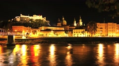 Timelapse of the skyline of Salzburg at night Stock Footage